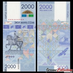 KIRGHIZISTAN - Billet de 2000 Som - 25e anniversaire de l'introduction de la monnaie nationale - 2017 P33a