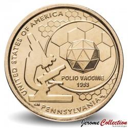 ETATS UNIS / USA - PIECE de 1 Dollar - Industrie et l'innovation - Vaccin contre la poliomyélite - Pennsylvanie - P - 2019