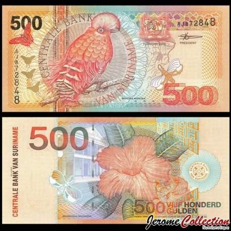 SURINAME - Billet de 10 Gulden - Oiseau Coq-de-roche orange - 2000 P150a