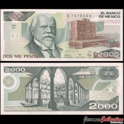MEXIQUE - BILLET de 2000 Pesos - Justo Sierra - 1989 P86c6