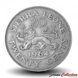 SIERRA LEONE - Pièce de 20 Cents - Sir Milton Margaï - Lion - 1964 Km#20
