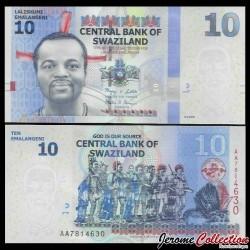 SWAZILAND (Eswatini) - Billet de 10 Emalangeni - 2010 P36a