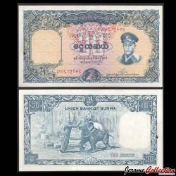 MYANMAR (ex-Birmanie) - Billet de 10 Kyats - Général Aung San / Éléphant - 1958 P48a
