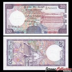 SRI LANKA - Billet de 20 Roupies - Pierre de lune - 1990 P97c