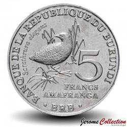 BURUNDI - PIECE de 5 Francs - Oiseau Râle ponctué - 2014 Km#26