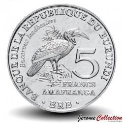 BURUNDI - PIECE de 5 Francs - Oiseau Bucorve du Sud - 2014 Km#29