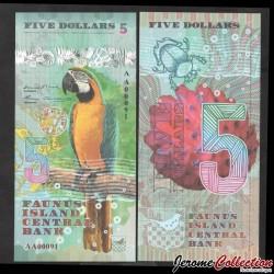 FAUNUS ISLAND - Billet de 5 DOLLARS - Perroquet - 2020 0005