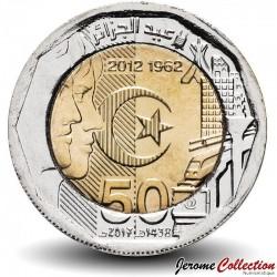 ALGÉRIE - PIECE de 200 Dinars - 50 ans de l'indépendance - Bimétal - 2017 Km#140