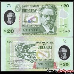 URUGUAY - Billet de 20 Pesos - Juan Zorilla de San Martín - Polymer - 2020 P101a