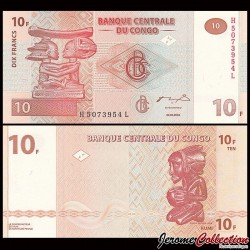 CONGO - BILLET de 10 Francs - Statuettes G&D- 2003 P93a