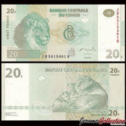 CONGO - BILLET de 20 Francs - 2003