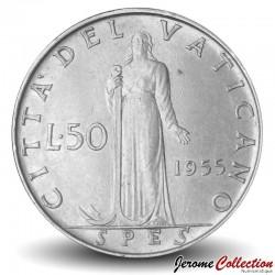 VATICAN - PIECE de 50 Lires - Fides (La foi) - Pie XII - 1955 Km#54