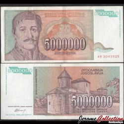 YOUGOSLAVIE - Billet de 5000000 Dinara - Karageorges - 1993 P132a