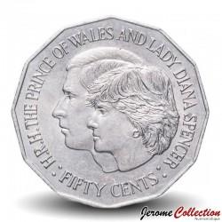 AUSTRALIE - PIECE de 50 CENTS - Mariage du prince Charles et de lady Diana - 1981 Km#72