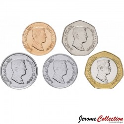 JORDANIE - SET / LOT de 5 PIECES de 1 5 10 1/4 1/2 Dinar - 2008 / 2012