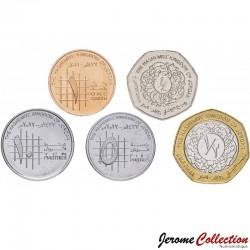 JORDANIE - SET / LOT de 5 PIECES de 1 5 10 1/4 1/2 Dinar - 2008 / 2012 Km#73 74 78 79 83