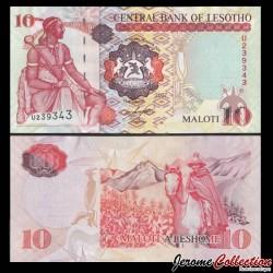 LESOTHO - Billet de 10 Maloti - Roi Moshoeshoe I - Cavalier Basotho - 2007 P15e