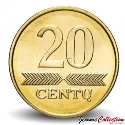 LITUANIE - PIECE de 20 Centu - Chevalier - 2009 Km#107