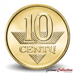 LITUANIE - PIECE de 10 Centu - Chevalier - 2010 Km#106