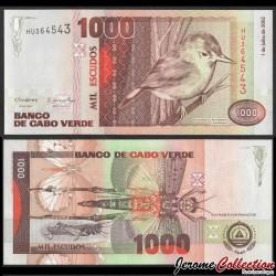 CAP-VERT - BILLET de 1000 Escudos - Oiseau Rousserolle du Cap-Vert - 2002 P65b