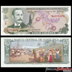 COSTA RICA - Billet de 5 Colones - Orchidée - 1992 P236e3