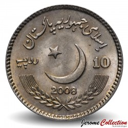 PAKISTAN - PIECE de 10 Roupies - Benazir Bhutto - 2008