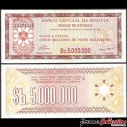 BOLIVIE - Billet de 5000000 Pesos Bolivianos - 1985 P193a