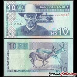 NAMIBIE - Billet de 10 Dollars - Capitaine Hendrik Witbooi - Springbok - 2001 P4bc