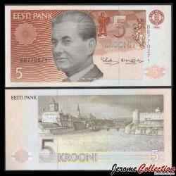 ESTONIE - Billet de 5 Krooni - Paul Keres - 1992 P71b