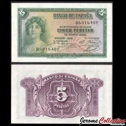 SPAIN 5 PESETAS 1935 aUNC SILVER CERTIFICATE