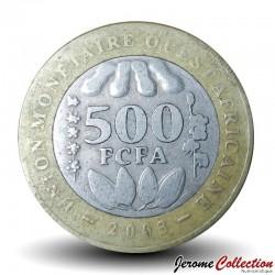 AFRIQUE DE L'OUEST (BCEAO) - PIECE de 500 Francs - Cabosses de cacao - Bimétal - 2003 Km#15