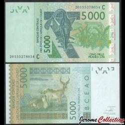 BCEAO - Burkina Faso - Billet de 5000 Francs - Antiloppe Cobe de Buffon - 2020 P317ct