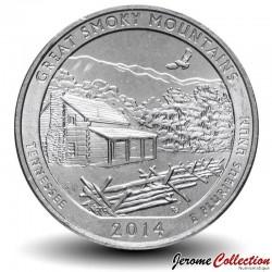 ETATS UNIS / USA - PIECE de 25 Cents - America the Beautiful - Great Smoky Mountains - Tennessee - 2014 - D Km#566