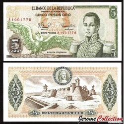 COLOMBIE - Billet de 5 Pesos Oro - 1980 P406f.3