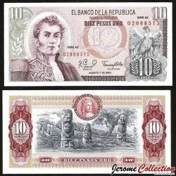 COLOMBIE - Billet de 10 Pesos Oro - 1980 P407h - Série AZ