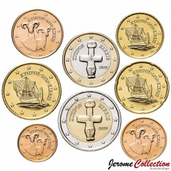 CHYPRE - SET / LOT de 8 PIECES de 1 2 5 10 20 50 Cents - 1 2 Euro - 2020 Km#78 79 80 81 82 83 84 85
