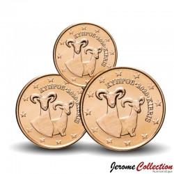 CHYPRE - SET / LOT de 3 PIECES de 1 2 5 Cents - Mouflon - 2020 Km#78 79 80