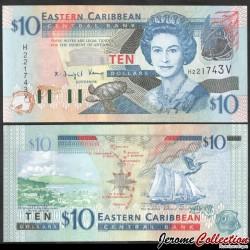 CARAIBE ORIENTALE / SAINT VINCENT - Billet de 10 DOLLARS - Tortue - 2008 P43v