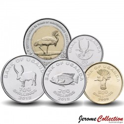 OUGANDA - SET / LOT de 5 PIECES - 50 100 200 500 Shillings - 2007 2008 2012 Km#66 67 68 69 278