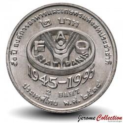 THAILANDE - PIECE de 2 Baht - 50 ans de la FAO - 1995 Km#307