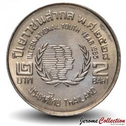 THAILANDE - PIECE de 2 Baht - Année internationale de la jeunesse - 1985 Km#176