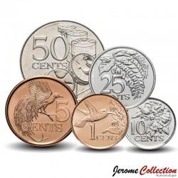 TRINITÉ-ET-TOBAGO - SET / LOT de 5 PIECES de 1 5 10 25 50 Cents - 2003 2008 2010 2011 Km#29 30 31 32 33
