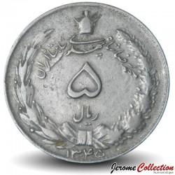IRAN - PIECE de 5 Rials - Lion - 1966