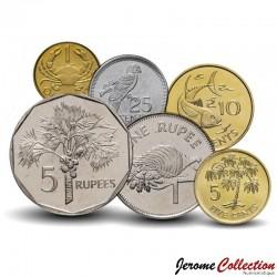 SEYCHELLES - SET / LOT de 6 PIECES - 1 5 10 25 50 Cents 1 2 Rupees - Faune & Flore - 2004 / 2012 Km#46 47a 48a 49a 50a 51.3