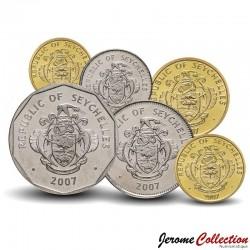 SEYCHELLES - SET / LOT de 6 PIECES - 1 5 10 25 50 Cents 1 2 Rupees - Faune & Flore - 2004 / 2012
