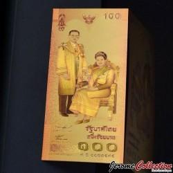 THAILANDE - Billet de 100 Baht - 72e anniversaire de la reine - Doré - 2004