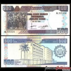 BURUNDI - Billet de 500 Francs - Art Africain - 1999 P38b