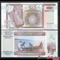BURUNDI - Billet de 50 Francs - Hippopotame - 19.5.1994 P36a