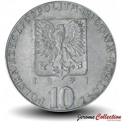 POLOGNE - PIECE de 10 zlotych - Poisson turbot et épi de blé - Fao - 1971