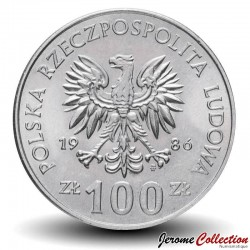POLOGNE - PIECE de 100 Zlotych - Ladislas Ier de Pologne - 1986